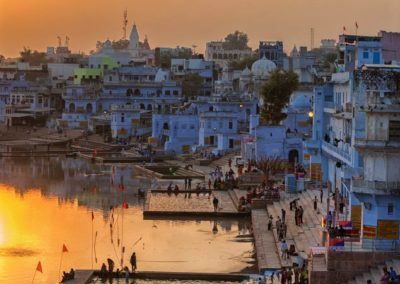 Pushkar city and the lake. Sunset view.